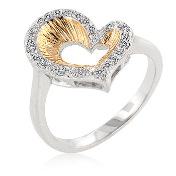 Accented Two-Toned Heart Ring - None