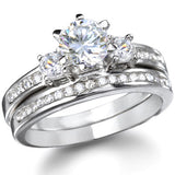 Ana's Round Three Stone Cubic Zirconia Wedding Ring Set - None