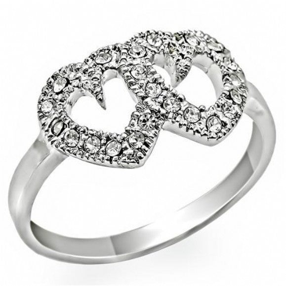 Cleo's Forever Love Crystal Accented Hearts Ring - None