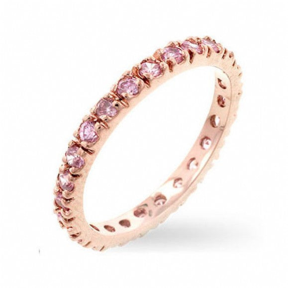 Corin's Pink CZ Slim Rose Gold Eternity Band - None