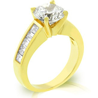 Dimitria's Classic Round & Baguette CZ  Gold Anniversary Ring - None