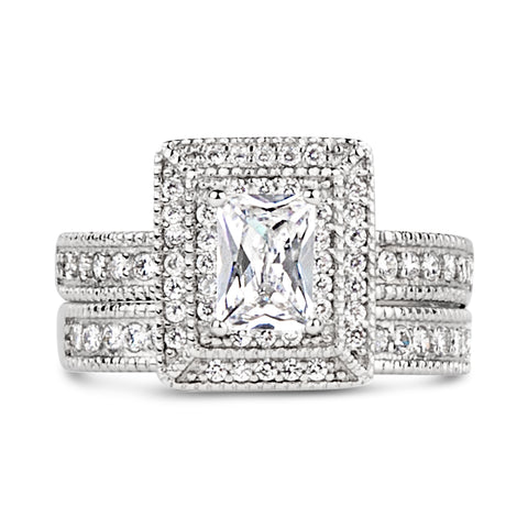 Elisabetta's Grand Emerald Cut CZ Wedding Set - None
