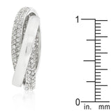 Eternity Band Triplet Rolling Ring with Clear Cubic Zirconia - None