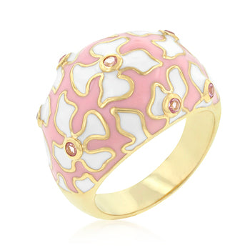 Floral Pink and White Enamel Ring - None