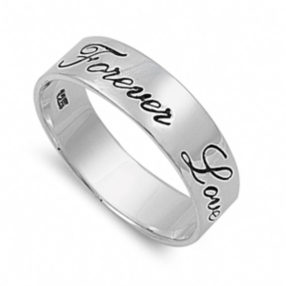 """Forever Love"" Inscribed 6mm Sterling Silver Band - None"