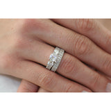 Gianna's Intricate Three Stone CZ Wedding Ring Set - None