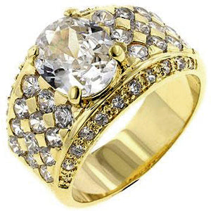 Gold Oval CZ Ring - None