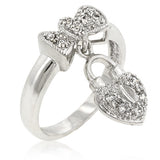 Heart Lock Ribbon Ring - None