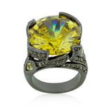 Hematite Yellow Stone Cocktail Ring - None