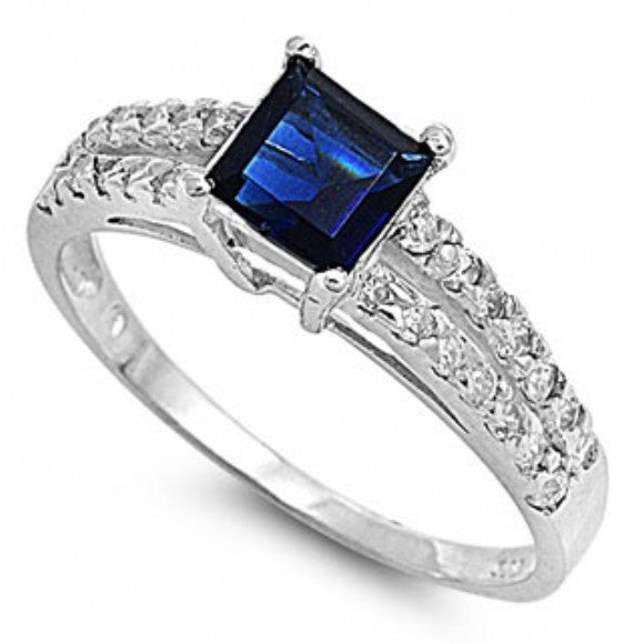 Lydea's Princess Shape Sapphire Blue CZ Double Banded Engagement Ring - None