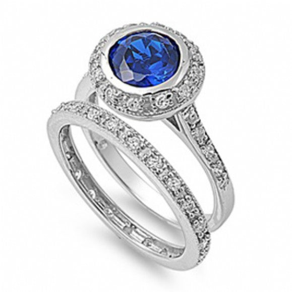 Meredith's Round Sapphire Blue Cubic Zirconia Wedding Ring Set - None