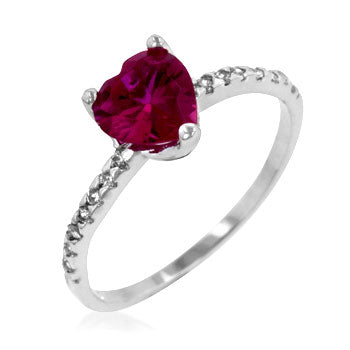Morgan's Ruby Red Cubic Zirconia Heart Ring - None