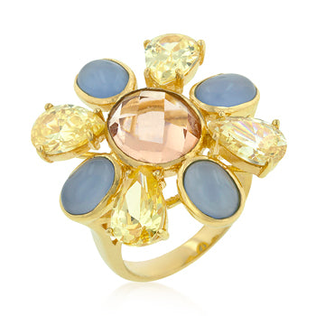 Multi-CZ Floral Golden Ring - None