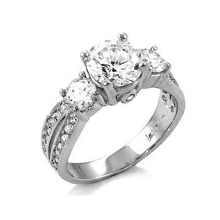 Sadie's Three Stone Sterling Silver CZ Anniversary Ring - None