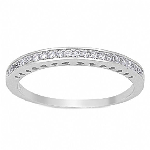 Sally's Sterling Silver Half CZ Eternity Ring - None