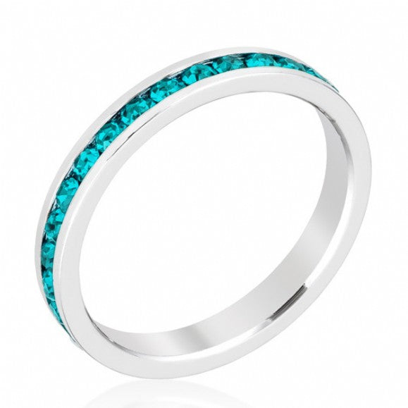 Silver Blue Zircon CZ Stackable Eternity Band - None