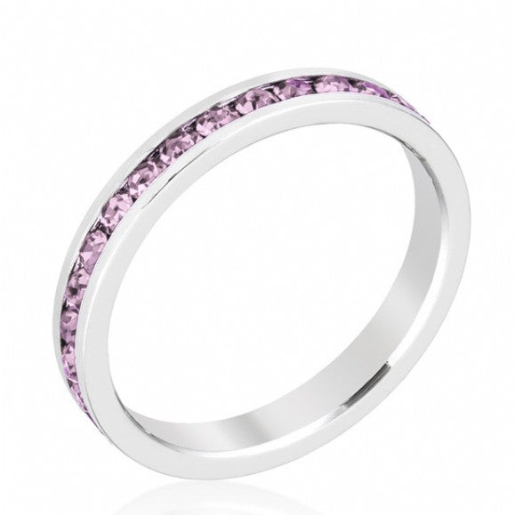 Silver Lavender CZ Stackable Eternity Band - None
