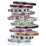 Silver Ruby Red CZ Stackable Eternity Band - None