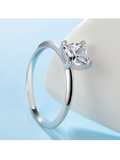 Sterling Silver Princess Cut CZ Solitaire Ring - None