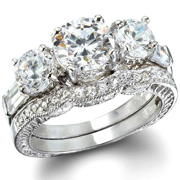 Three Stone Past, Present & Future CZ Engagement Ring Set - None