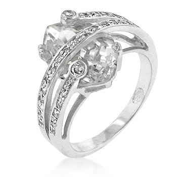 Trapped Cubic Zirconia Cocktail Ring - None