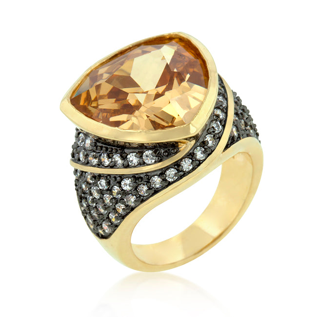 Triangle Cut Two-Tone Cocktail Ring - None