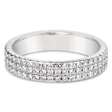 Triple Row Pave Round Cut Full CZ Eternity Band .925 sterling silver - None