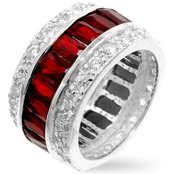 Triple Row Ruby Eternity Band - None