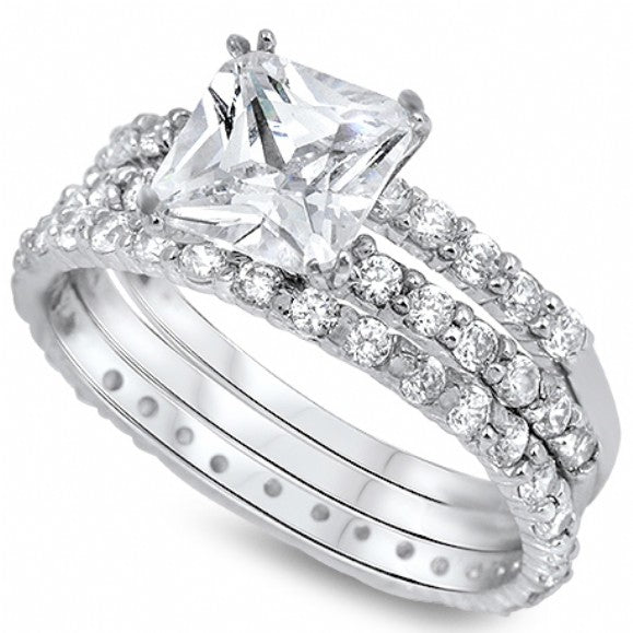 Valeria's Sterling Silver Princess Cut Triple Band Cubic Zirconia Wedding Ring Set - None
