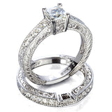 Veronica's Antique Style Replica CZ Wedding Ring Set - None