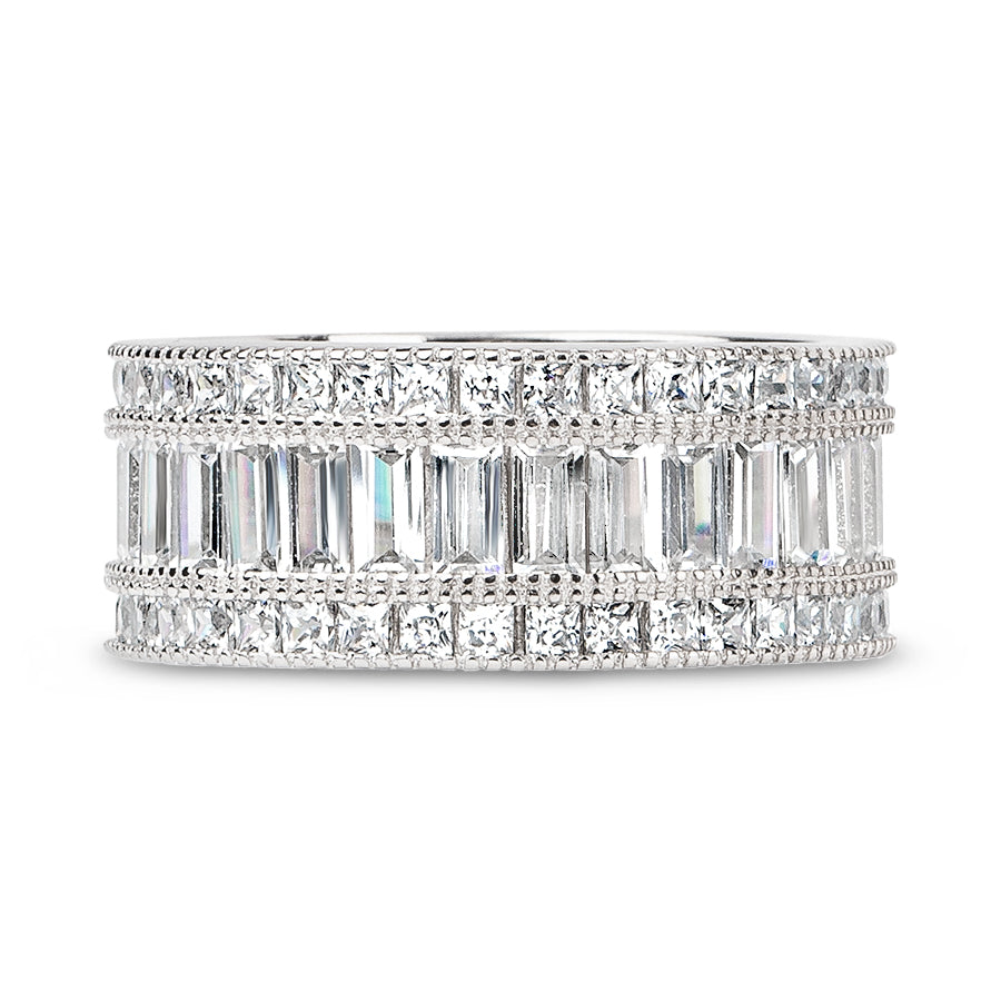 Wide Channel Set Princess and Emerald Cut Full CZ Eternity Band .925 sterling silver - None