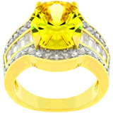 Yellow CZ Cocktail Ring - None