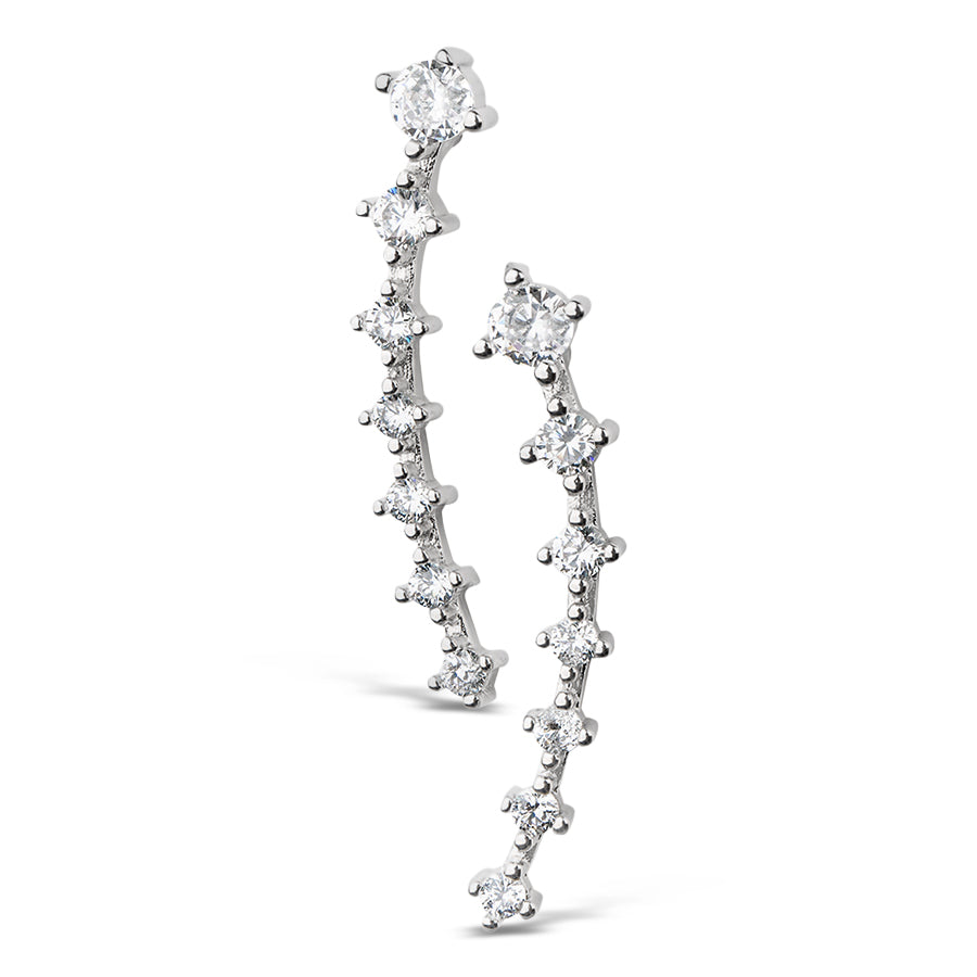 Round Graduated Ear Climber - Silver