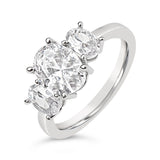 Three Stone Oval CZ Engagement Ring - Silver