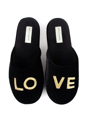 Love Embroidered Slipper - Black