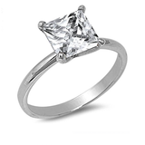 Grand Princess Cut Solitaire Engagement Ring - Sterling Silver