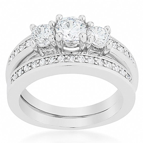 Regina's Three Stone Round CZ Classic Wedding Ring Set