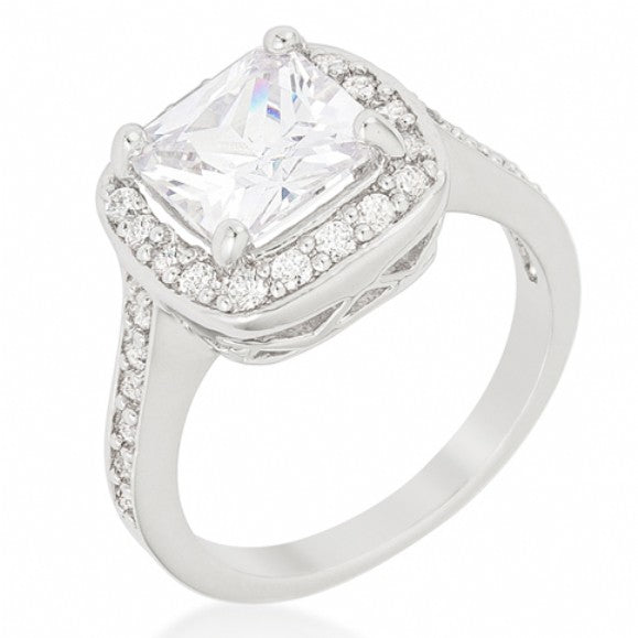 Kira's Halo Style Cushion Cut CZ Silver Engagement Ring