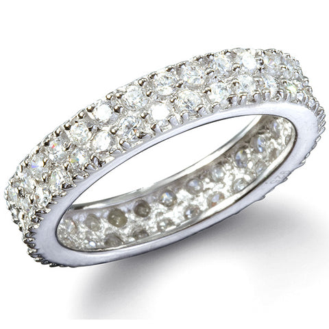 Karina's Fine Double Row CZ Eternity Ring - None
