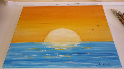 Acrylic sunset painting for beginners