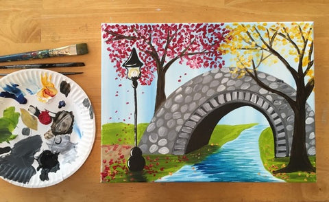 how to paint a bridge in autumn