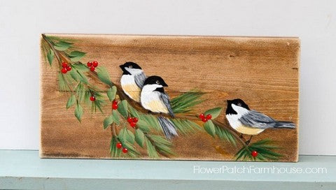 Chickadees painting for beginners