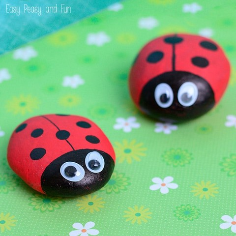 Painting ladybugs on rocks