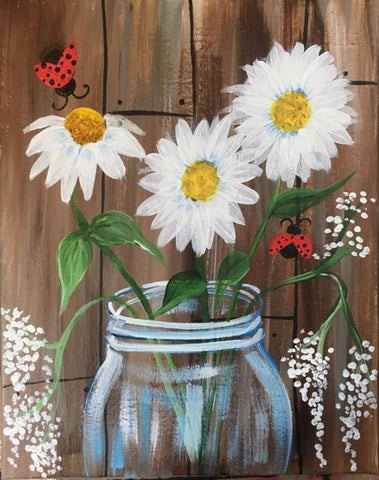 Daisies in a Jar painting