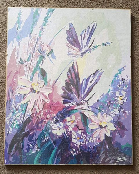 Adults DIY painting of violet butterflies