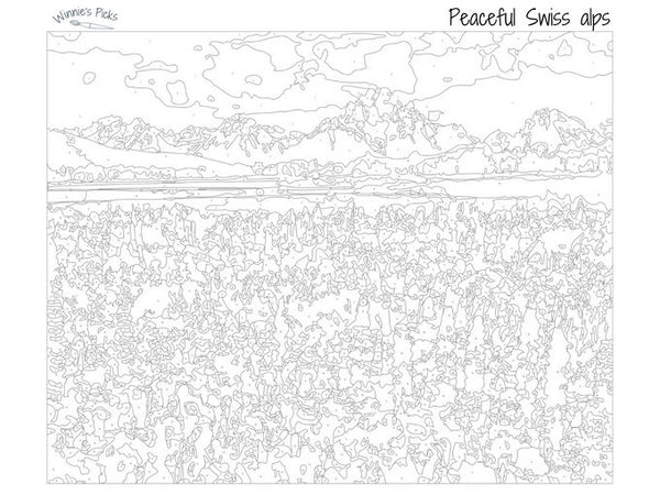 Free adults paint by numbers chart of a french landscape