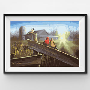 Painting By Number Birds sitting on a fence in the morning