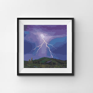 Painting By Number Lightning bolt in the dry desert