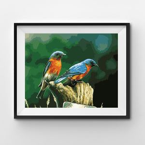 Painting By Number Bluebirds resting on a tree
