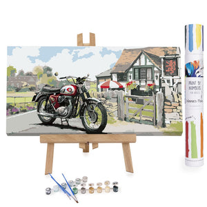 Motorbike in countryside paint by numbers